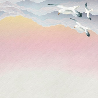 Watercolor seagulls flying in the sky background