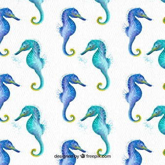 Watercolor seahorses background