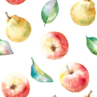 Watercolor seamless autumn pattern with apples and pears