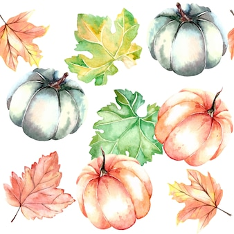 Watercolor seamless autumn pattern with pumpkins and leaves