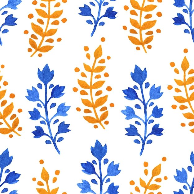 黄色と青の小枝と水彩のシームレスな背景