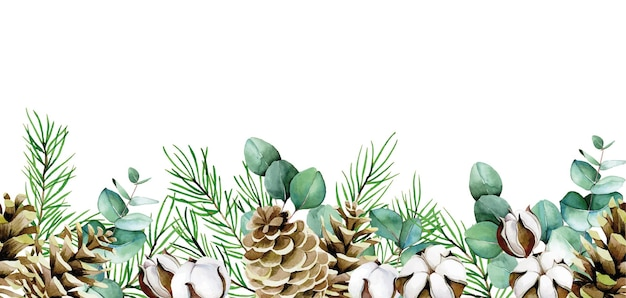 Watercolor seamless border of eucalyptus leaves cotton flowers fir branches and cones