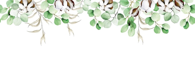Watercolor seamless border frame of eucalyptus leaves and cotton flowers