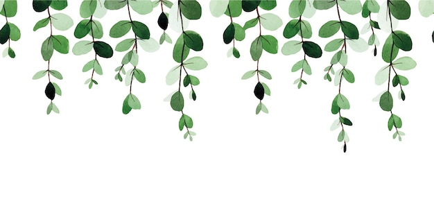 Watercolor seamless border pattern with abstract eucalyptus leaves isolated on white