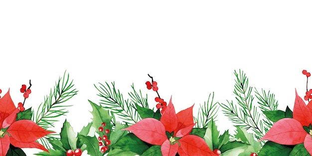 Watercolor seamless border of  poinzettia red berries and green leaves of holly spruce branches