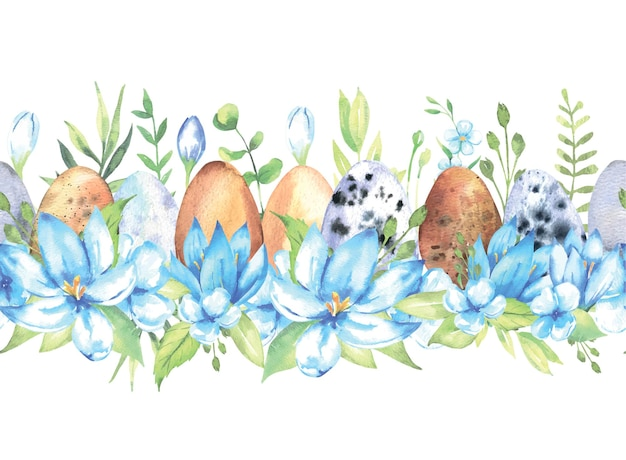 Watercolor seamless border with flowers easter eggs