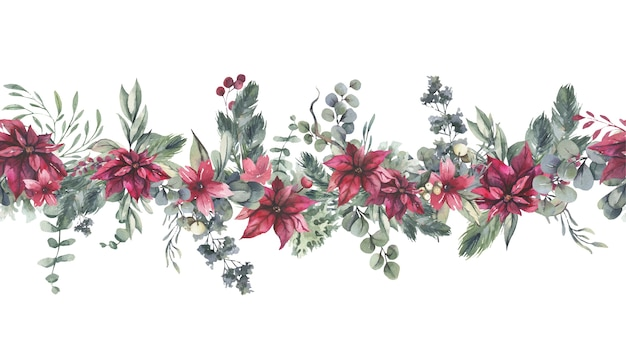 Watercolor seamless border with red flowers and green leaves.