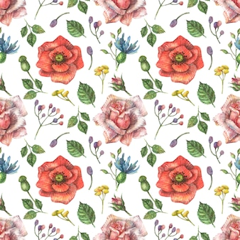 Watercolor seamless botanical pattern of bright, red wildflowers of poppy, pink roses and other plants and leaves.