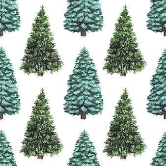 壁紙やスクラップブッキングに最適な、クリスマスツリーと水彩のシームレスなクリスマスパターン。
