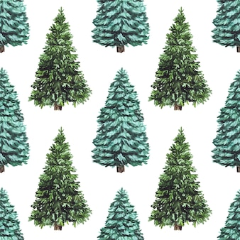 Watercolor seamless christmas pattern with christmas tree, perfect for wallpaper and scrapbooking.