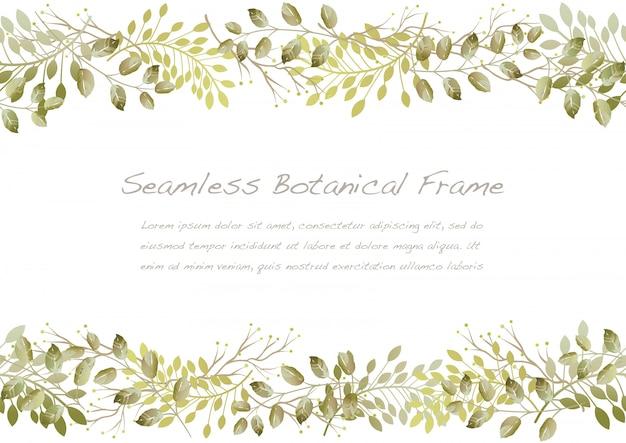 Акварель бесшовные сухой цветочная рамка, изолированных на белом фоне.