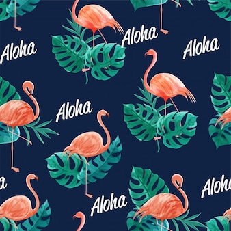 Watercolor seamless of flamingos among the leaves. design for printing, and fabric.