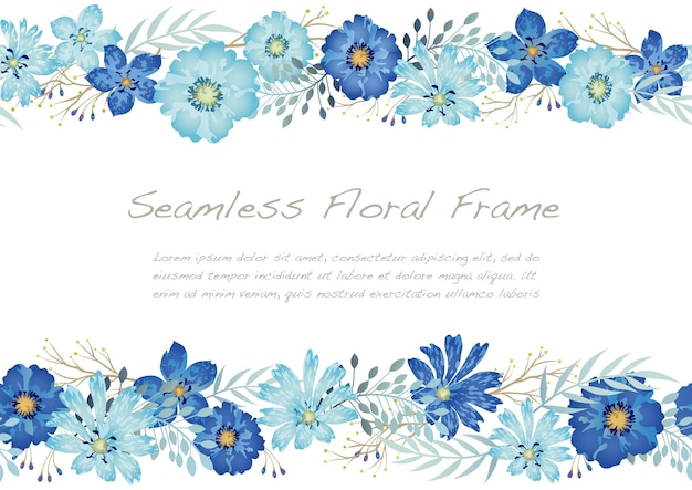 Watercolor seamless floral frame isolated on a white