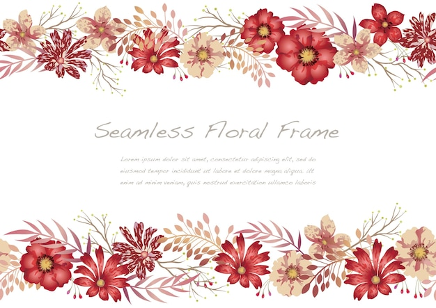 Watercolor seamless floral frame isolated on a white.