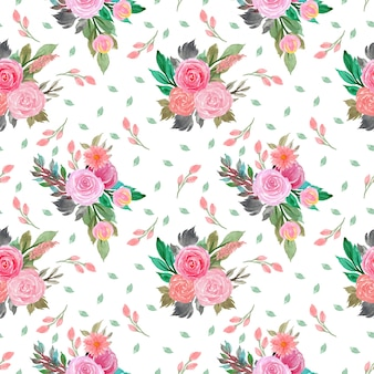 Watercolor seamless floral pattern with flowers