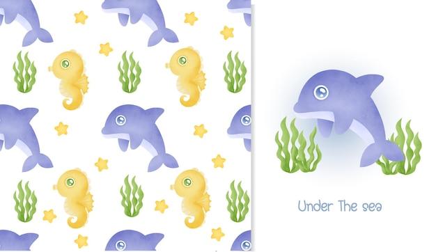 수채화 원활한 패턴 및 귀여운 돌고래와 함께 인사말 카드.