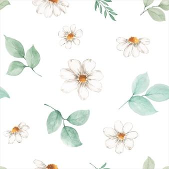 白い背景の上の水彩画のシームレスなパターンの紅葉と花。秋のお祭り、招待状、カード、壁紙の装飾のための水彩画の手描きアートデザイン。包装。