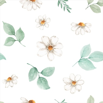Watercolor seamless pattern autumn leaves and flowers on a white background. watercolor hand-painted art design for decorative in the autumn festival, invitations, cards, wallpaper; packaging.