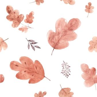 白い背景の上の水彩画のシームレスなパターンの紅葉。オークの葉で手描きの水彩画は、秋のお祭り、招待状、カード、壁紙の装飾のためのアートデザインを残します。包装。