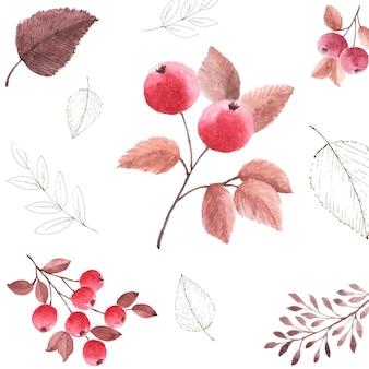 白い背景の上の水彩画のシームレスなパターンの紅葉。秋の祭り、招待状、カード、壁紙の装飾のためのナナカマドの果実のアートデザインで手描きの水彩画。包装。