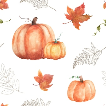 白い背景の上の水彩画のシームレスなパターン秋。カボチャとカエデの葉で手描きされた水彩画は、秋のお祭り、カード、壁紙の装飾のためのアートデザインを残します。包装。
