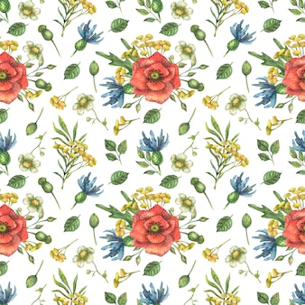 Watercolor seamless pattern of bright, red wildflowers of poppy and other plants and leaves.