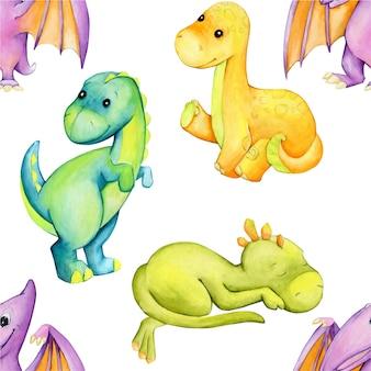 Акварель бесшовные модели. динозавры, в мультяшном стиле.
