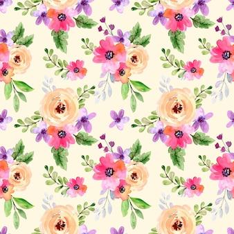 수채화 원활한 패턴 꽃 분홍색과 보라색 장미