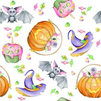 ハロウィーンの休日のための水彩画のシームレスなパターン。コウモリ、カボチャ、キャンディー、帽子、漫画風。