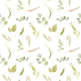 Watercolor seamless pattern of green branches, eucalyptus and spikes