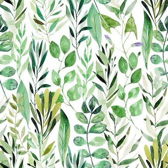 Watercolor seamless pattern of green leaves and branches