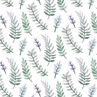 Watercolor seamless pattern of green leaves