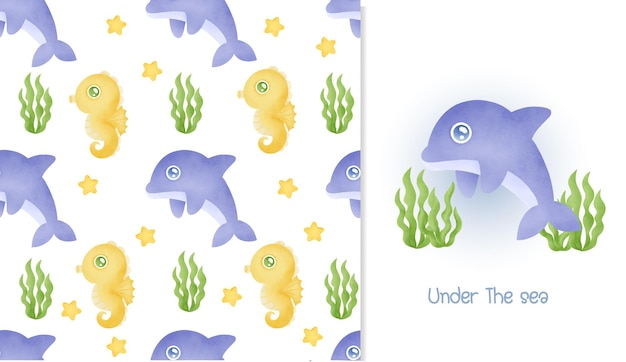 Watercolor seamless pattern and greeting card with cute dolphin.