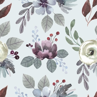 Watercolor seamless pattern greyish blossom and dark brown leaves