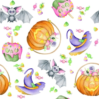 Watercolor seamless pattern, for the halloween holiday. a bat, pumpkins, candy, a hat, in a cartoon style.
