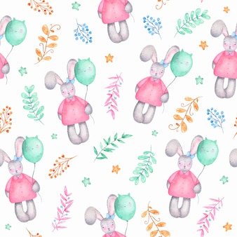 Watercolor seamless pattern happy easter cute girl bunny with air balloons flowers