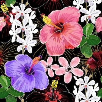 Акварель бесшовные картины цветы гибискуса.