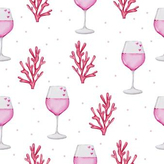 Reticolo senza giunte dell'acquerello del concetto di amore, elemento di concetto di san valentino dell'acquerello isolato adorabili romantici cuori rosso-rosa per la decorazione, illustrazione.