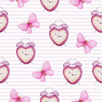 Watercolor seamless pattern of love concept,  isolated watercolor valentine concept element lovely romantic red-pink hearts for decoration, illustration.