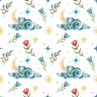 Watercolor seamless pattern in occult style. illustration of night sky with clouds, stars, moon and flowers.