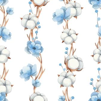 白い背景で隔離の綿の花、青いアネモネの花と小枝の水彩のシームレスなパターン