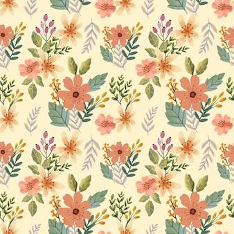 크림 릴리와 봄 시즌 잎의 수채화 원활한 패턴