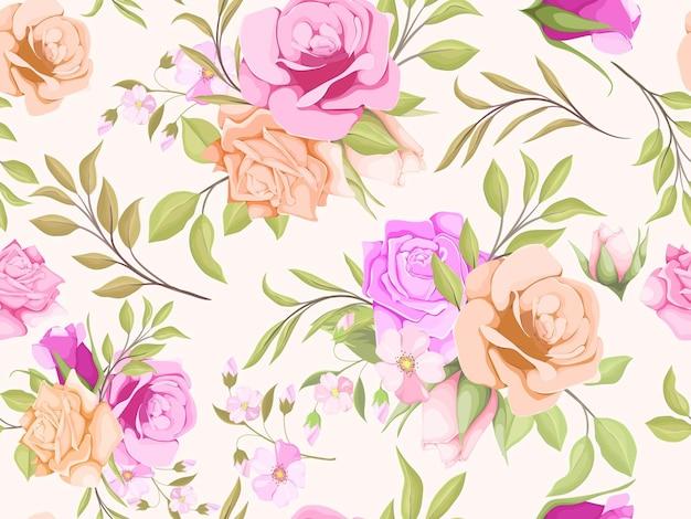 花と葉の水彩シームレス パターン