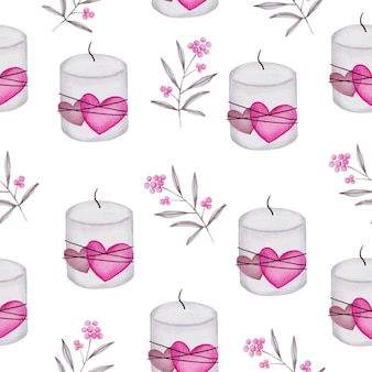 愛の概念の水彩のシームレスなパターン、装飾、イラストのための孤立した水彩バレンタインの概念要素素敵なロマンチックな赤ピンクの心。