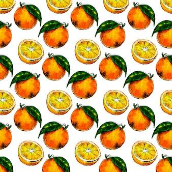 오렌지 과일의 수채화 원활한 패턴 leafs. 감귤 오렌지 과일의 그림입니다. 에코 푸드 일러스트 여름 슬로건