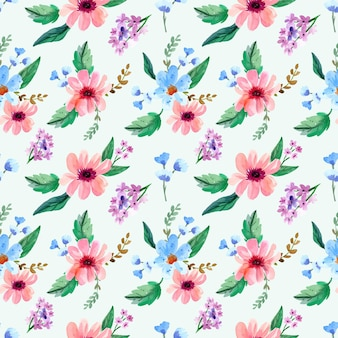 Акварель бесшовный образец розового и синего цветка
