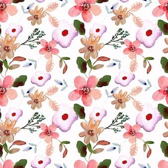 Акварель бесшовный образец розового цветка и листьев