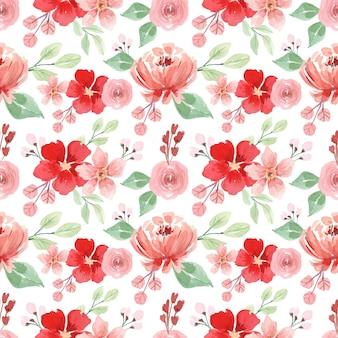 赤い花とピンクの牡丹の水彩画のシームレスなパターン