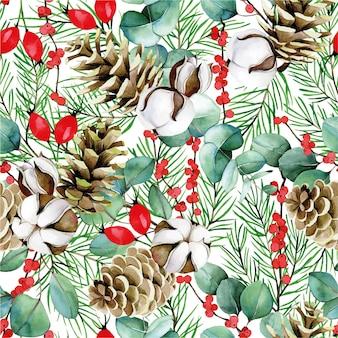 冬の新年のクリスマスの綿の花ユーカリの水彩画のシームレスなパターン