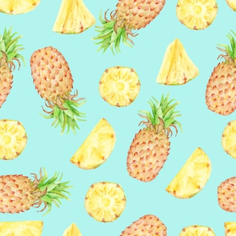 Watercolor seamless pattern of pineapple